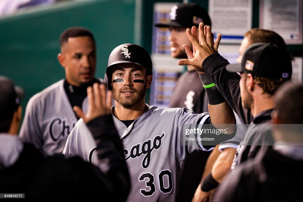 Nicky Delmonico #30 of the Chicago White Sox celebrates scoring against the Kansas City Royals during the sixth inning at Kauffman Stadium on September 11, 2017 in Kansas City, Missouri.