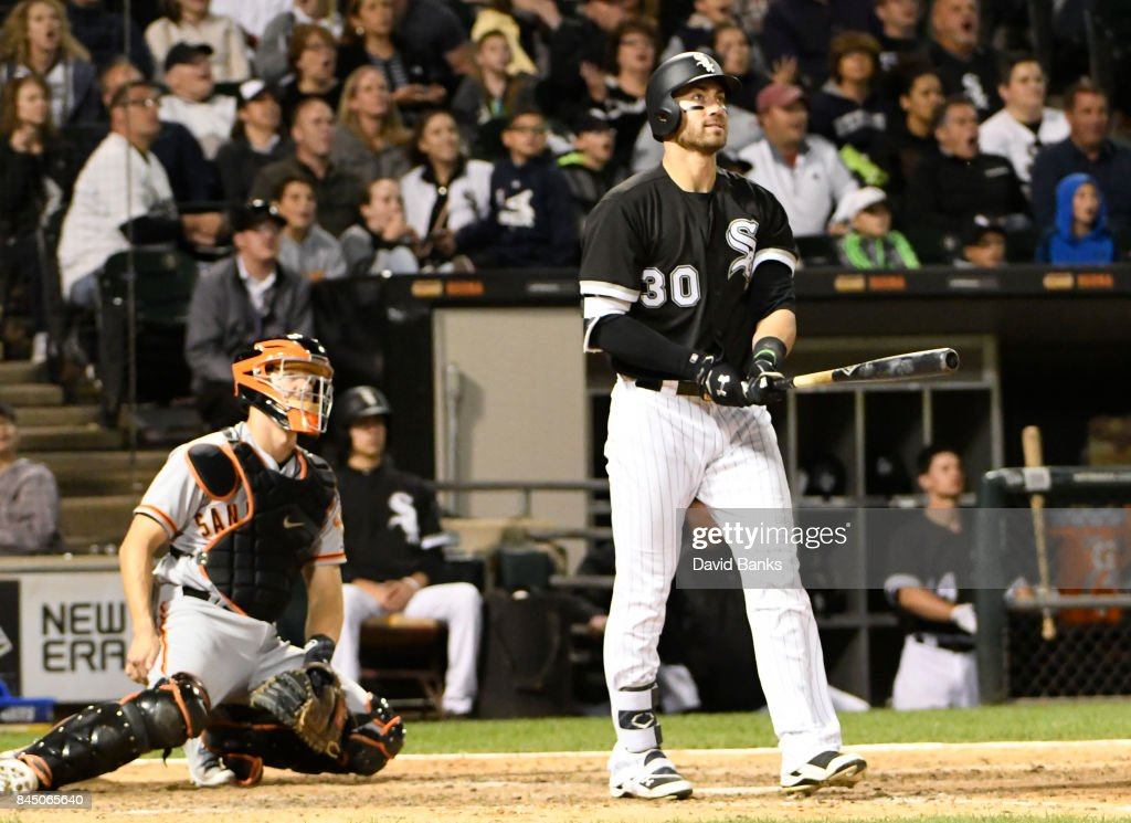 Nicky Delmonico #30 of the Chicago White Sox hits a two-run homer against the San Francisco Giants during the seventh inning on September 9, 2017 at Guaranteed Rate Field in Chicago, Illinois.