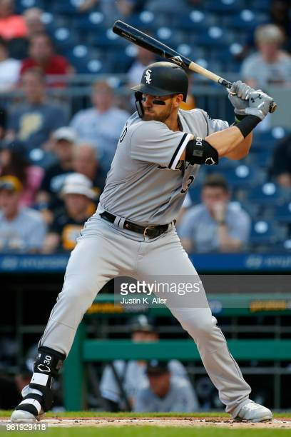 Nicky Delmonico of the Chicago White Sox in action during interleague play against the Pittsburgh Pirates at PNC Park on May 15 2018 in Pittsburgh...