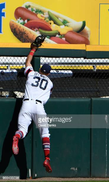 Nicky Delmonico of the Chicago White Sox makes a catch on Eduardo Escobar of the Minnesota Twins during the eighth inning on May 6 2018 at Guaranteed...