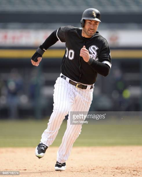 Nicky Delmonico of the Chicago White Sox runs the bases against the Tampa Bay Rays on April 10 2018 at Guaranteed Rate Field in Chicago Illinois...