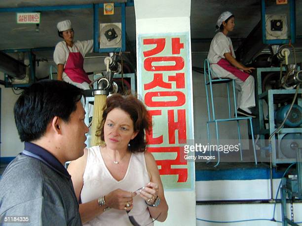 Nicky Downer wife of Australian Foreign Minister to North Korea Alexander Downer visits a factory that makes vitamin and mineral enriched noodles for...