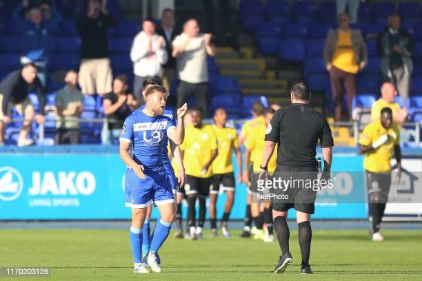 Nicky Featherstone of Hartlepool United and refreee Joe Johnson during the Vanarama National League match between Hartlepool United and Dover...