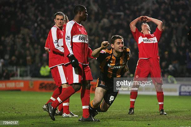 Nicky Forster of Hull celebrates scoring the equalising goal during the FA Cup sponsored by EON 3rd Round match between Hull City and Middlesbrough...