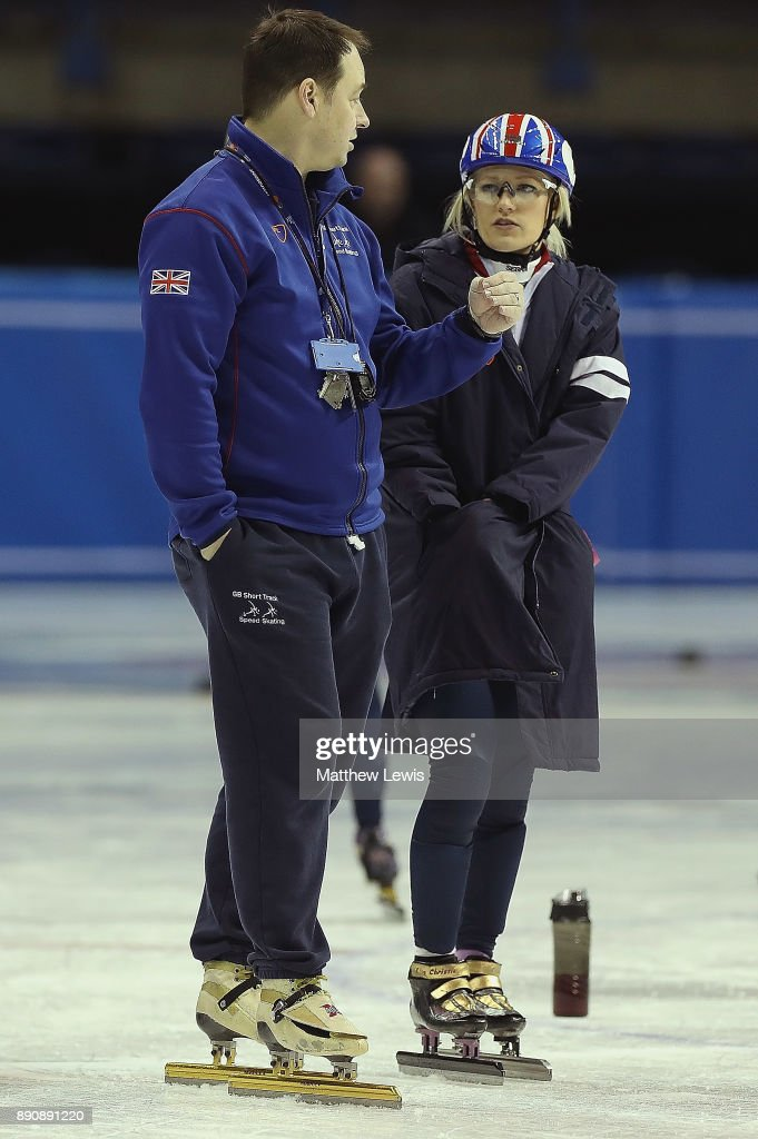 Nicky Gooch, GB Head Short Track Head Coach talks to Elise Christie of Great Britain pictured during a media day for the Athletes Named in the GB Short Track Speed Skating Team for the PyeongChang 2018 Winter Olympic Games on December 12, 2017 in Nottingham, England.