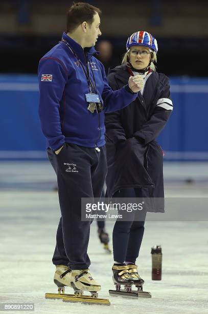 Nicky Gooch GB Head Short Track Head Coach talks to Elise Christie of Great Britain pictured during a media day for the Athletes Named in the GB...