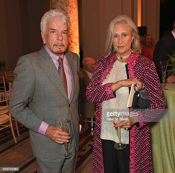 Nicky Haslam and Aldine Honey attend a celebration of the Life of Lord George Weidenfeld on June 26 2016 in London England
