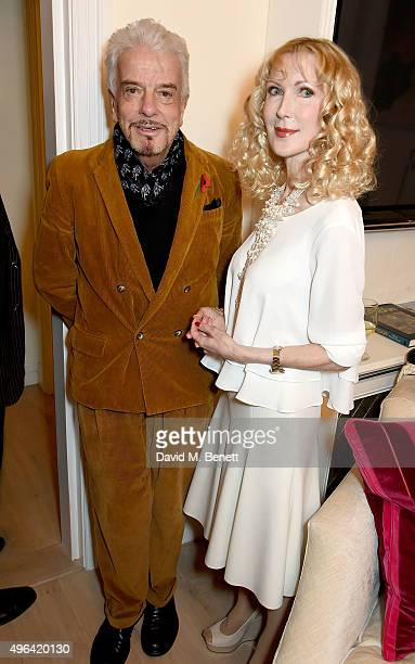 Nicky Haslam and Basia Briggs attend the launch of 'Quicksilver' by HRH Princess Michael of Kent the final volume of the Anjou trilogy at the home of...