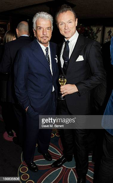 LONDON ENGLAND NOVEMBER Nicky Haslam and Gary Kemp attend a launch hosted by The Vinyl Factory of Bryan Ferry's new album 'The Jazz Age' at...