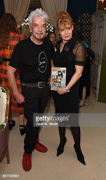 Nicky Haslam and Lyndal Hobbs attend the launch of new book 'A Girl From Oz' by Lyndall Hobbs on May 12 2016 in London England
