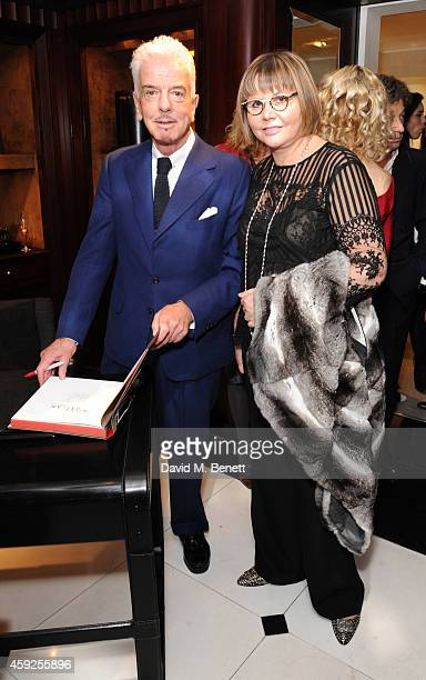Nicky Haslam and Natasha Kagalovsky attend the launch of Nicky Haslam's new book 'A Designer's Life' at Ralph Lauren on November 19 2014 in London...