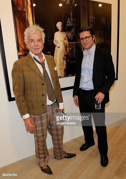 Nicky Haslam and Rodman Primack attend the Annie Leibovitz reception at Phillips de Pury on October 23 2008 in London England