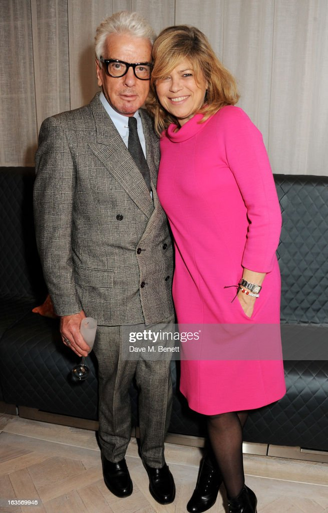 Nicky Haslam (L) and Sarah Standing attend the launch of Louise Fennell's new book 'Fame Game' at Grace Belgravia on March 12, 2013 in London, England.