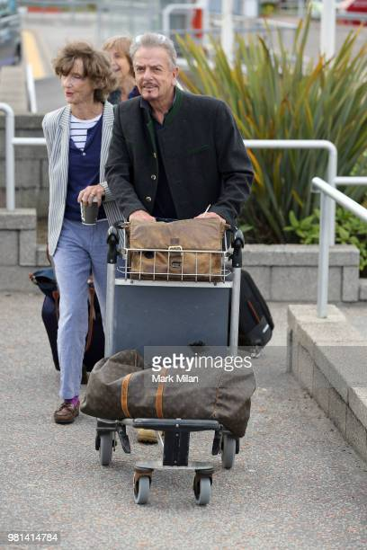 Nicky Haslam arriving at Aberdeen Airport before the wedding of Kit Harrington and Rose Leslie on June 22 2018 in Aberdeen Scotland