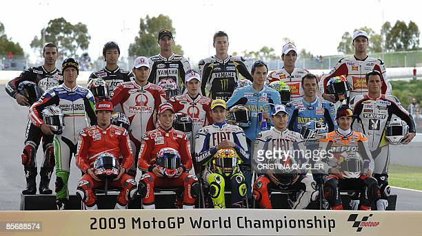 Nicky Hayden of the US Casey Stoner of Australia Valentino Rossi of Italy Jorge Lorenzo of Spain Andrea Dovizioso of Italy Sete Gibernau of Spain...
