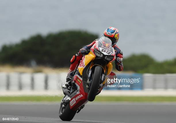 Nicky Hayden of the USA rides the Red Bull Honda World Superbike Team Honda during practice ahead of round one of the FIM World Superbike...