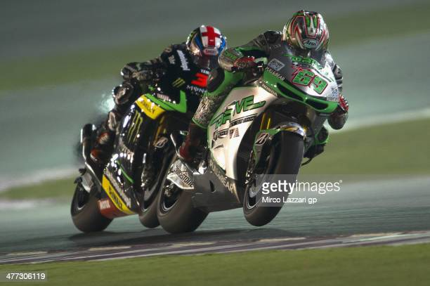 Nicky Hayden of USA and Drive M7 Aspar leads the field during the MotoGP Tests in Losail Day Two at Losail Circuit on March 8 2014 in Doha Qatar