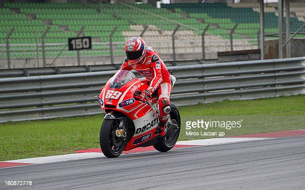 Nicky Hayden of USA and Ducati Marlboro Team heads down a straight during the MotoGP Tests in Sepang Day Five at Sepang Circuit on February 7 2013 in...