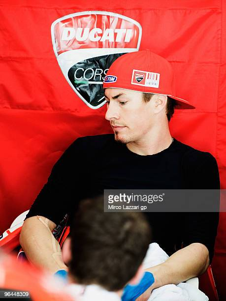 Nicky Hayden of USA and Ducati Marlboro Team looks on during the final day of the MotoGP test at Sepang International Circuit near Kuala Lumpur...