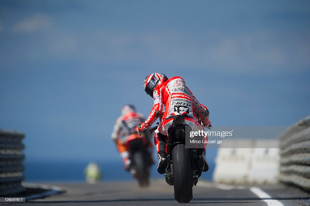 Nicky Hayden of USA and Ducati Marlboro Team rides out of the pits during the qualifying practice for the Australian MotoGP, which is round 16 of the MotoGP World Championship, at Phillip Island Grand Prix Circuit on October 15, 2011 in Phillip Island, Australia.