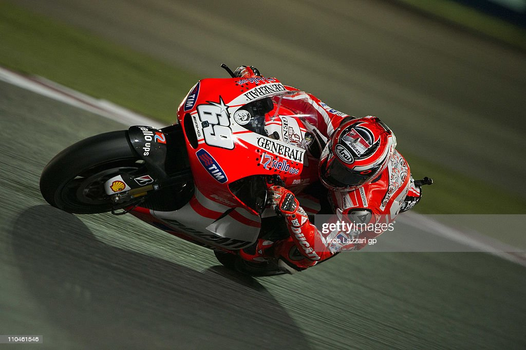Nicky Hayden of USA and Ducati Marlboro Team rounds the bend during the free practice of Doha GP at Losail Circuit on March 18, 2011 in Doha, Qatar.