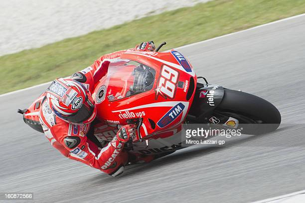 Nicky Hayden of USA and Ducati Marlboro Team rounds the bend during the MotoGP Tests in Sepang Day Five at Sepang Circuit on February 7 2013 in Kuala...
