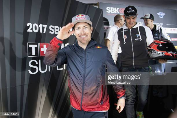 Nicky Hayden of USA and Red Bull Honda World Superbike team greets during the Autograph Session in paddock show during practice ahead of round one of...