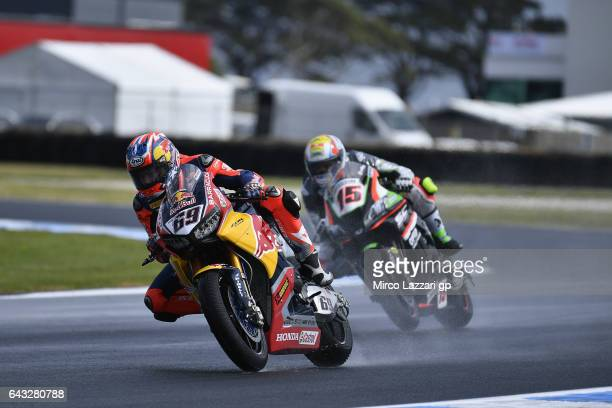 Nicky Hayden of USA and Red Bull Honda World Superbike team leads Alex De Angelis of Rep San Marino and Pedercini Racing during 2017 WorldSBK...