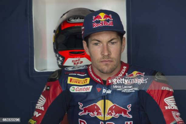 Nicky Hayden of USA and Red Bull Honda World Superbike team looks on in box during the FIM Superbike World Championship Free Practice at Misano World...