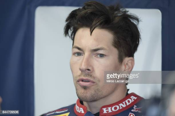 Nicky Hayden of USA and Red Bull Honda World Superbike team speaks in box during practice ahead of round one of the FIM World Superbike Championship...