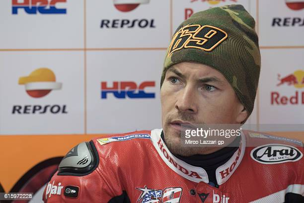 Nicky Hayden of USA and Repsol Honda Team looks on in box during free practice for the 2016 MotoGP of Australia at Phillip Island Grand Prix Circuit...