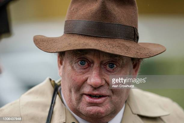 Nicky Henderson poses at Ascot Racecourse on February 15 2020 in Ascot England