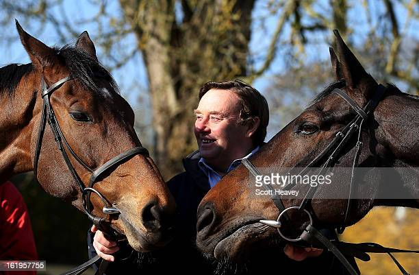 Nicky Henderson with Bobs Worth and Long Run during a stable visit to Seven Barrows on February 18, 2013 in Lambourn, England.