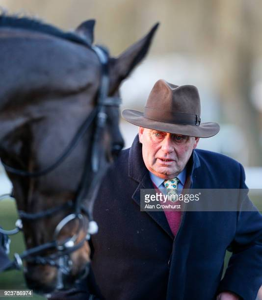 Nicky Henderson with Might Bite at Kempton Park racecourse on February 24 2018 in Sunbury England