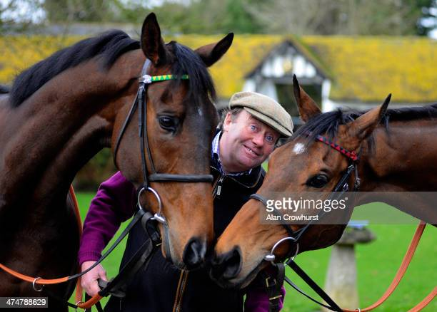 Nicky Henderson with My Tent Or Yours , entered for the Champion Hurdle and Bobs Worth entered for Gold Cup at Seven Barrows Stables on February 25,...