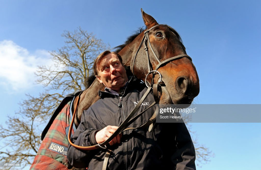 Nicky Henderson with Sprinter Sacre during a stable visit to Seven Barrows on February 18, 2013 in Lambourn, England.