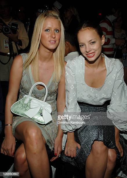 Nicky Hilton and Bijou Phillips during Olympus Fashion Week Spring 2006 - Zac Posen - Front Row and Backstage at Bryant Park in New York City, New...