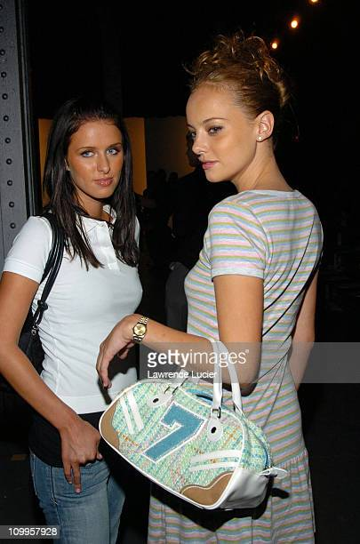 Nicky Hilton and Bijou Phillips during Olympus Fashion Week Spring 2005 Lacoste Front Row at The Waterfront in New York City New York United States