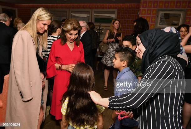 Nicky Hilton and executive producer HRH Princess Firyal of Jordan greet the Alhalabi family during 'This is Home A Refugee Story' New York Premier...