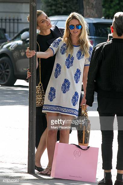 Nicky Hilton and model Cheyenne Tozzi are spotted on the 'Avenue Montaigne' on June 3 2015 in Paris France