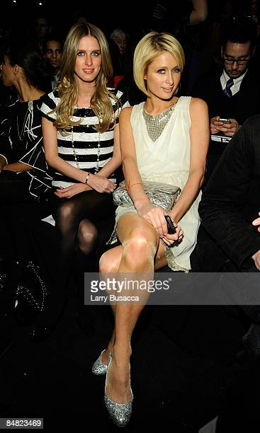 Nicky Hilton and Paris Hilton attend the William Rast Fall 2009 fashion show during MercedesBenz Fashion Week in the Tent at Bryant Park on February...