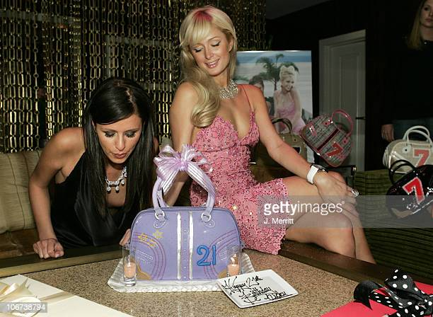 Nicky Hilton and Paris Hilton during Nicky Hilton Celebrates her 21st Birthday at Hard Rock Cafe Hotel and Casino October 16 2004 at Hard Rock Cafe...