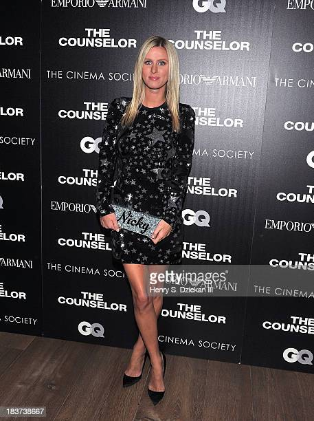 Nicky Hilton attends Emporio Armani with GQ The Cinema Society host a screening of 'The Counselor' at Crosby Street Hotel on October 9 2013 in New...