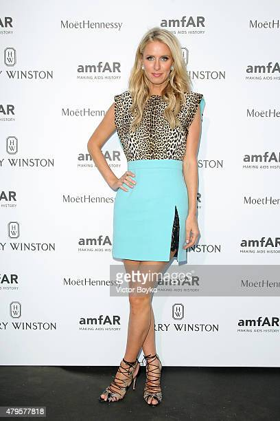 Nicky Hilton attends the amfAR dinner at the Pavillon LeDoyen during the Paris Fashion Week Haute Couture on July 5 2015 in Paris France
