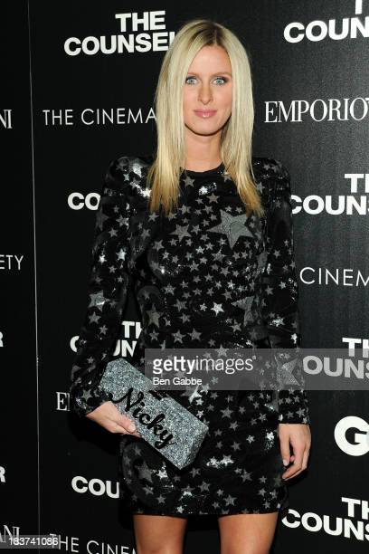 Nicky Hilton attends the Emporio Armani with GQ The Cinema Society screening of 'The Counselor' at the Crosby Street Hotel on October 9 2013 in New...