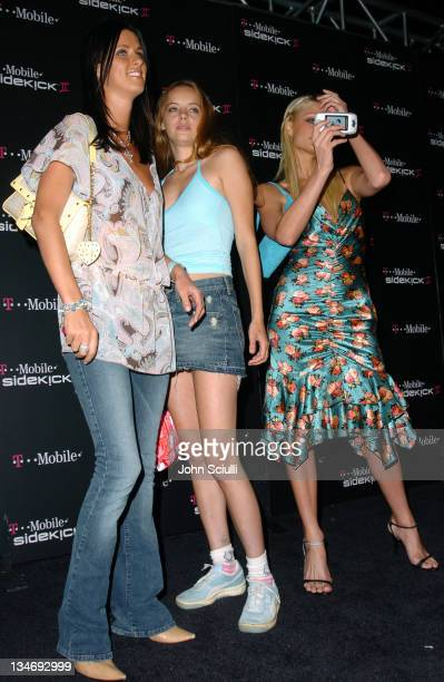 Nicky Hilton Bijou Phillips and Paris Hilton during TMobile Sidekick II Launch Party Red Carpet at The Grove in Los Angeles California United States