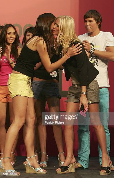 Nicky Hilton congratulates Ceren Alkac Winner of the Holeproof Antz Pantz IT Girl Competition at Westfield Parramatta on September 28 2005 in Sydney...