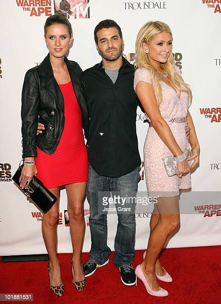"""Nicky Hilton, David Katzenberg and Paris Hilton arrive at the MTV Series Premiere of """"The Hard Times of RJ Berger"""" and """"Warren The Ape"""" at Trousdale..."""