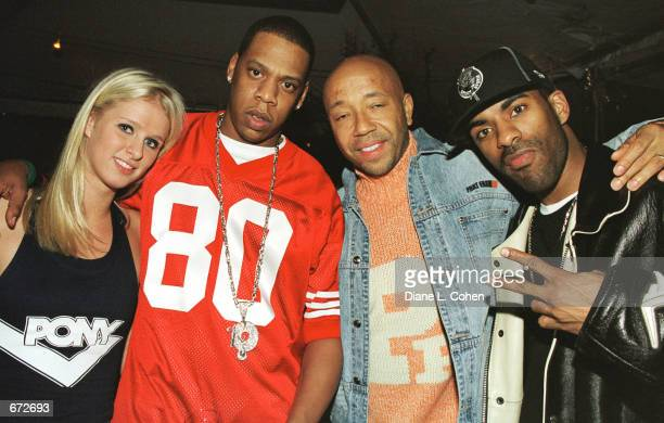 Nicky Hilton JayZ Russell Simmons and Fabolous attend a party for the publication of Russell Simmons' book 'Life and Def Sex Drugs Money and God'...