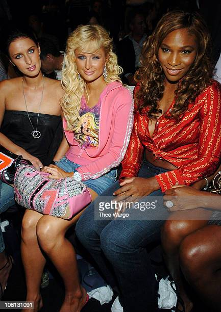 Nicky Hilton Paris Hilton and Serena Williams during Olympus Fashion Week Spring 2005 Tommy Hilfiger Front Row at Theater Tent Bryant Park in New...